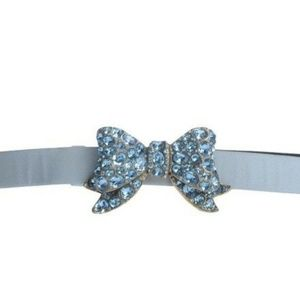 Bow Belt Buckle Jeweled Blue Brooch